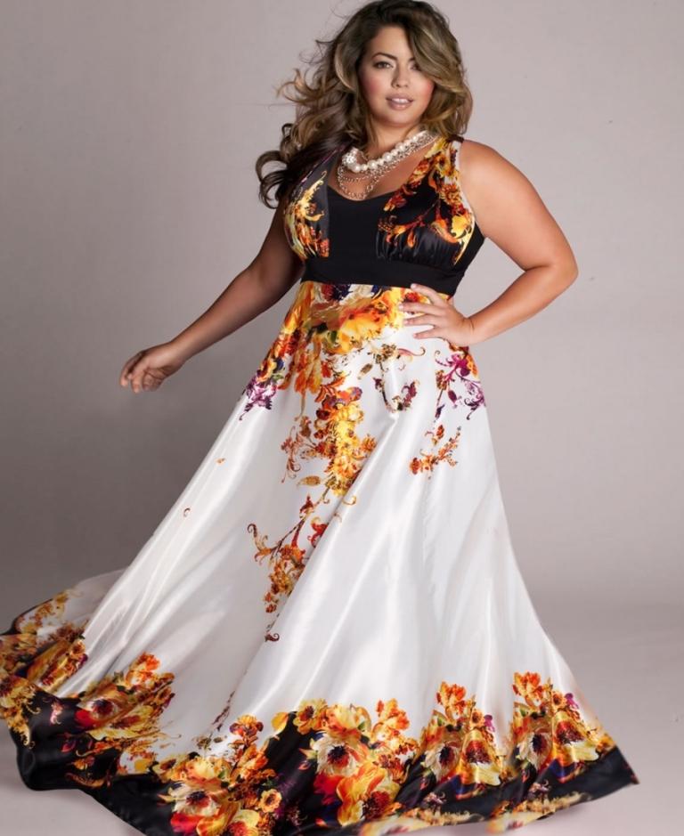 Фото платьев для полных девушек в пол